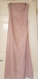 Formal Pink Iridescent Glitter Strapless Dress
